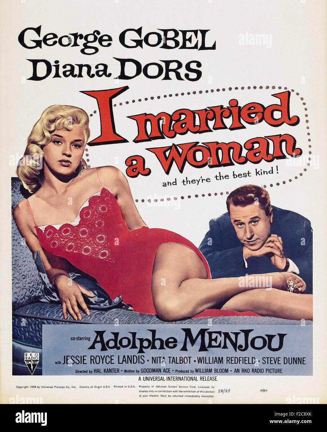 Original 1958 I Married A Woman Film Movie Poster Diana Dors US One Sheet RKO
