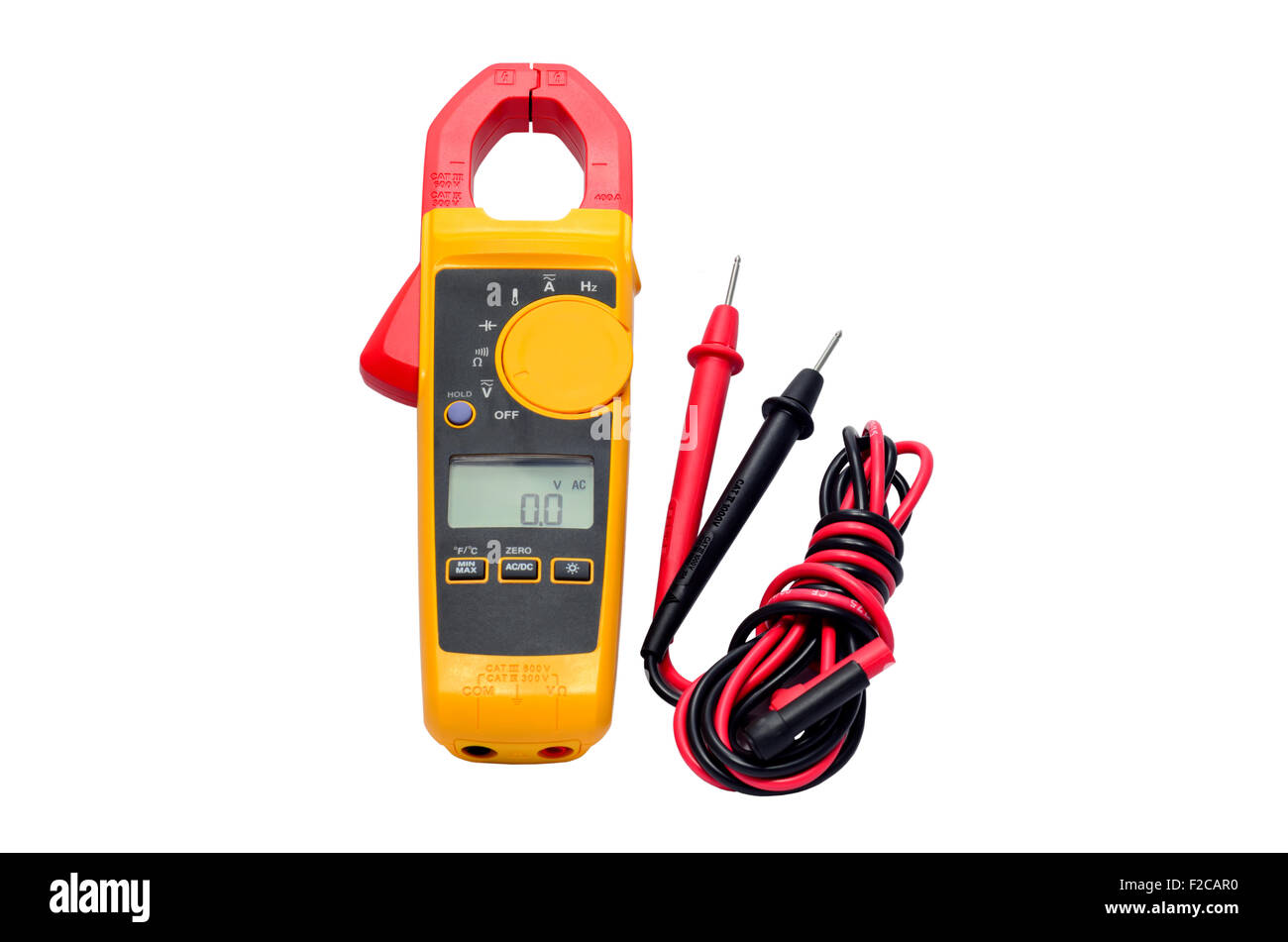 Digital volt meter for Engineering Electrician at work. - Stock Image