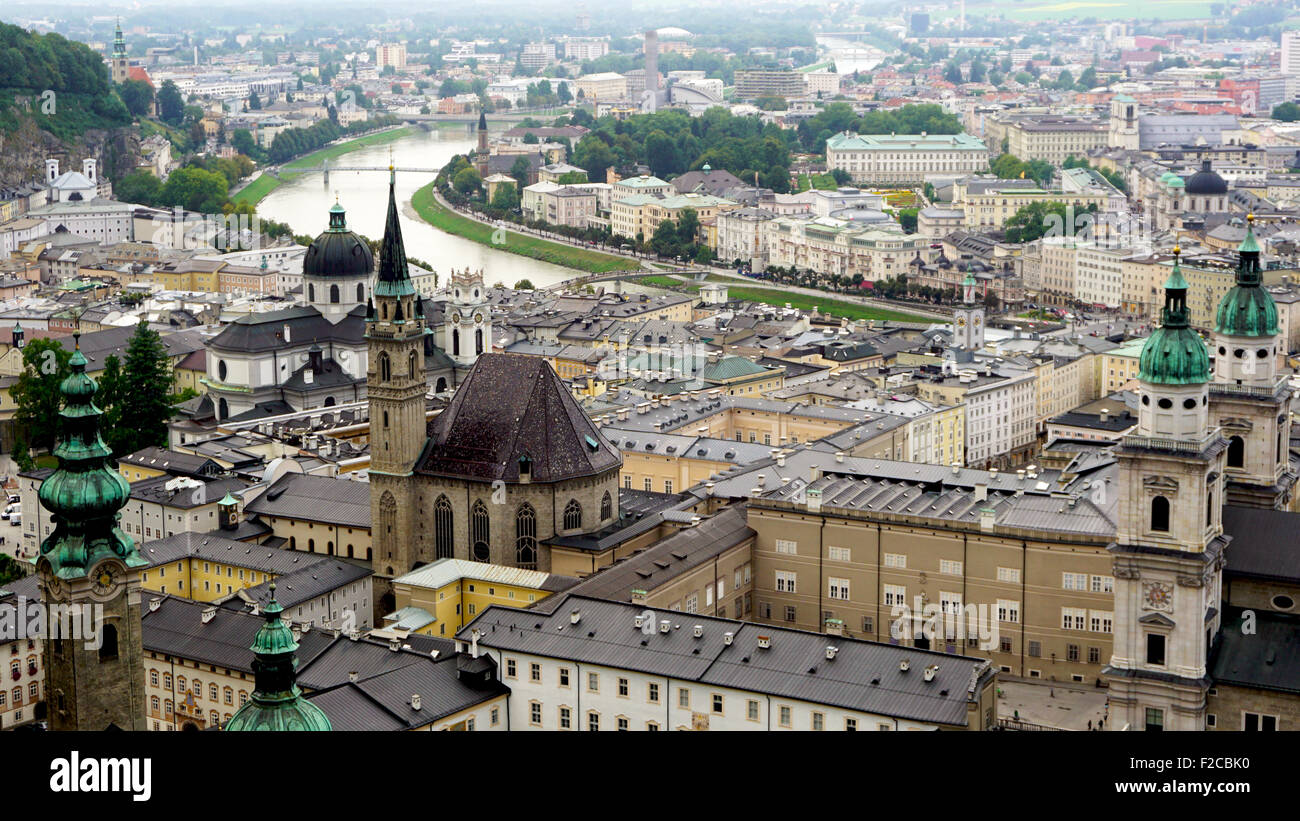 Viewpoints of Salzburg Old Town city, Austria - Stock Image