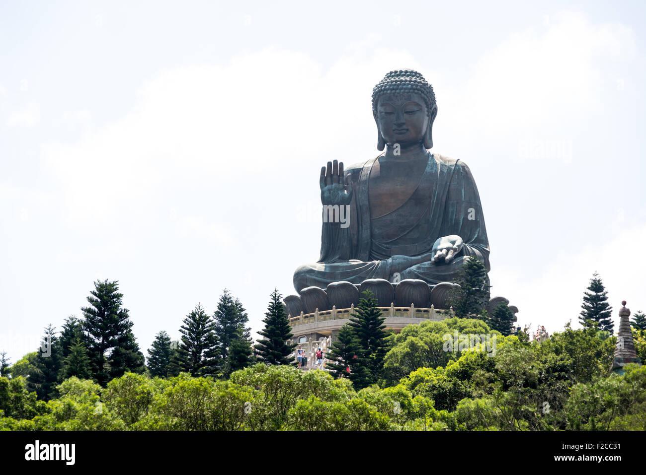 Big Buddha at Ngong Ping village, Lantau, Hong Kong - Stock Image