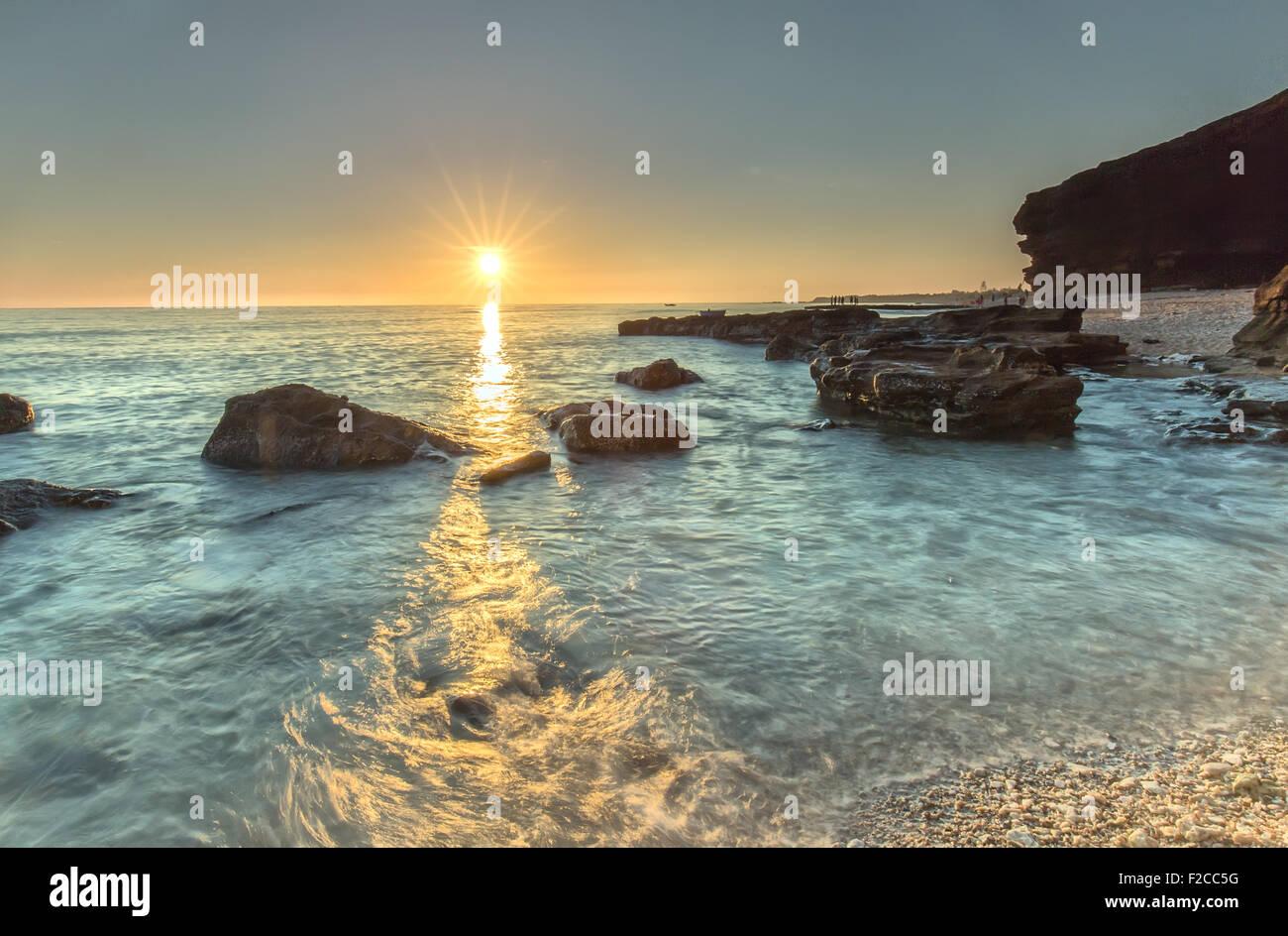 Sunstar horizon from Ly Son Island - Stock Image