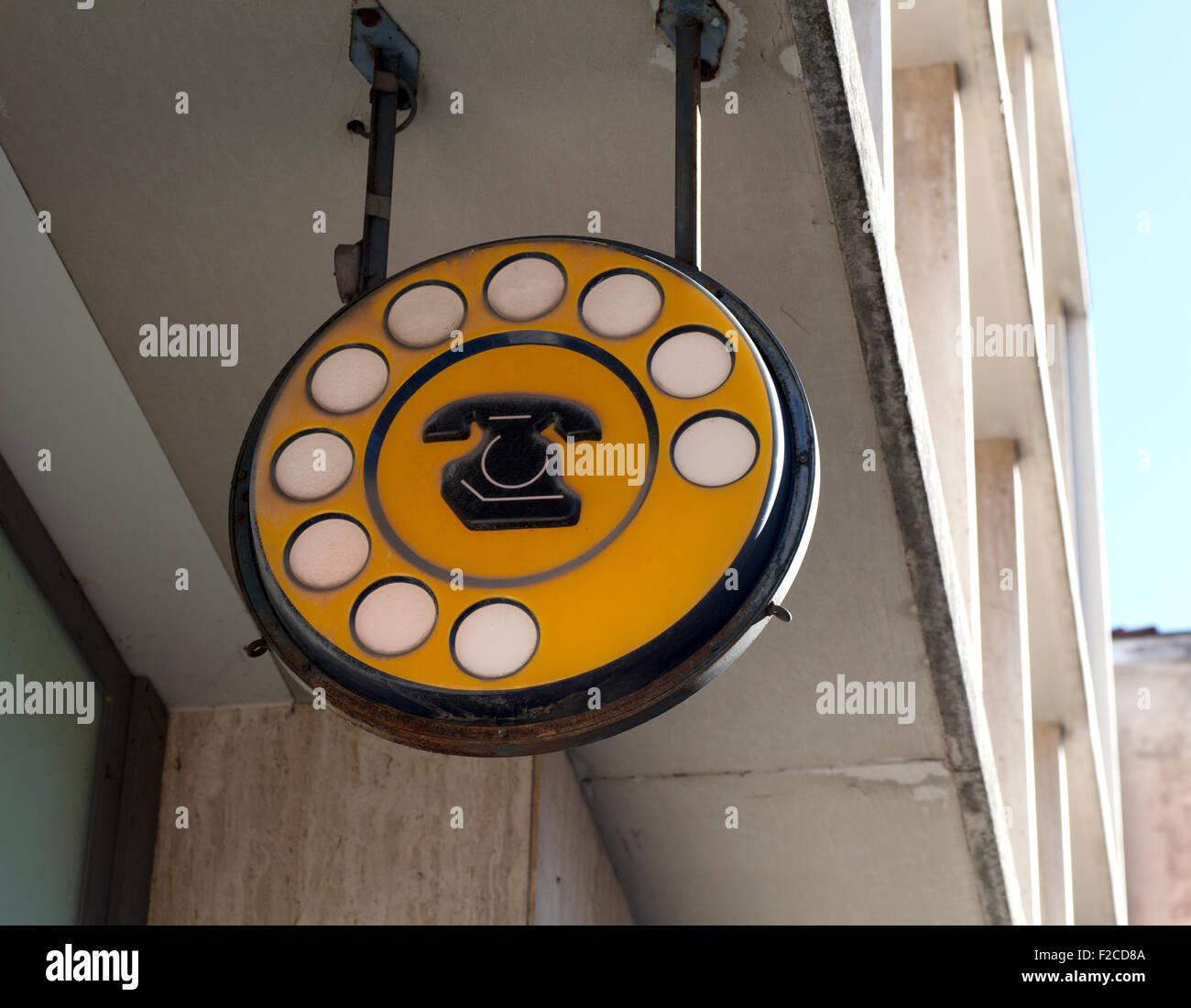 Old italian public telephon sign - Stock Image