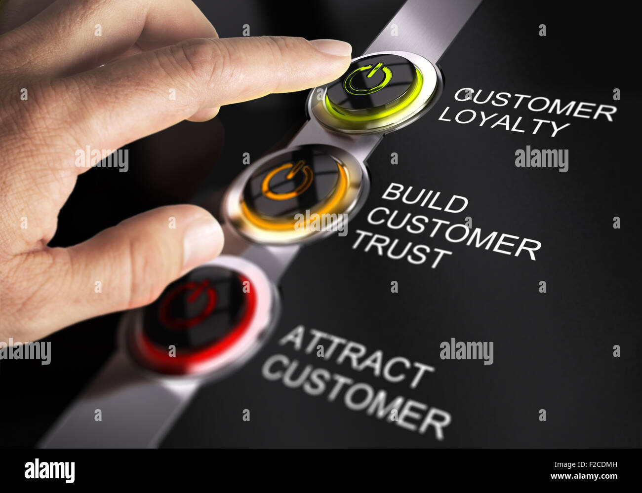 Finger about to press customer loyalty button. Concept for illustration of sales process. - Stock Image
