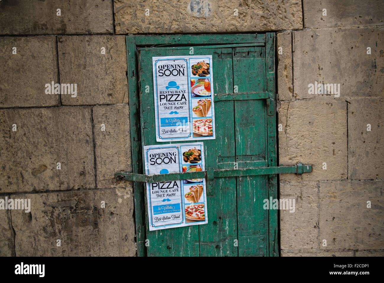 Malta, 2 january 2015  New Pizza lounge cafe opening soon.  Photo Kees Metselaar - Stock Image