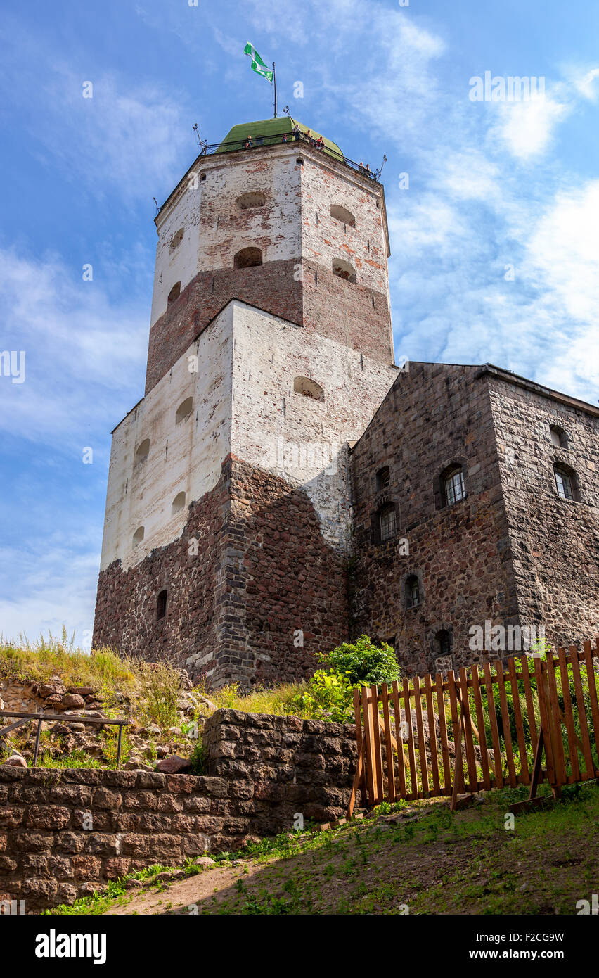 Old Swedish medieval castle in Vyborg, Russia Stock Photo