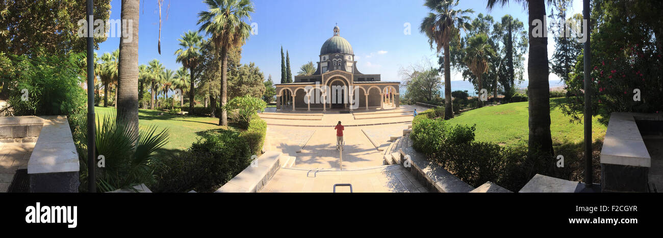 Israel: the Church of the Beatitudes, a Roman Catholic church located by the Sea of Galilee near Tabgha and Capernaum, Stock Photo