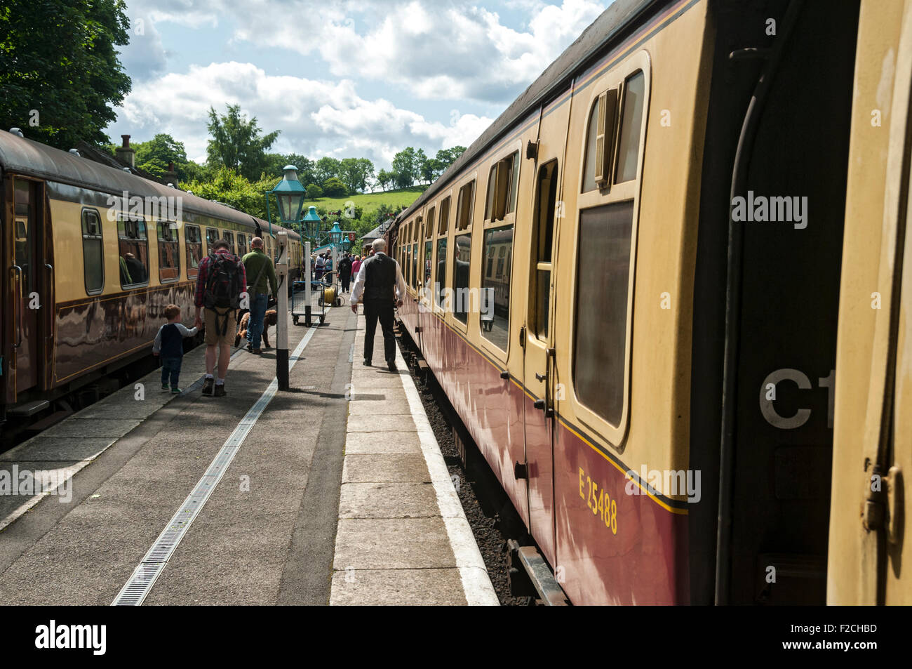 Vintage passenger carriages at Grosmont Station on the North Yorkshire Moors Railway, Yorkshire, England, UK - Stock Image