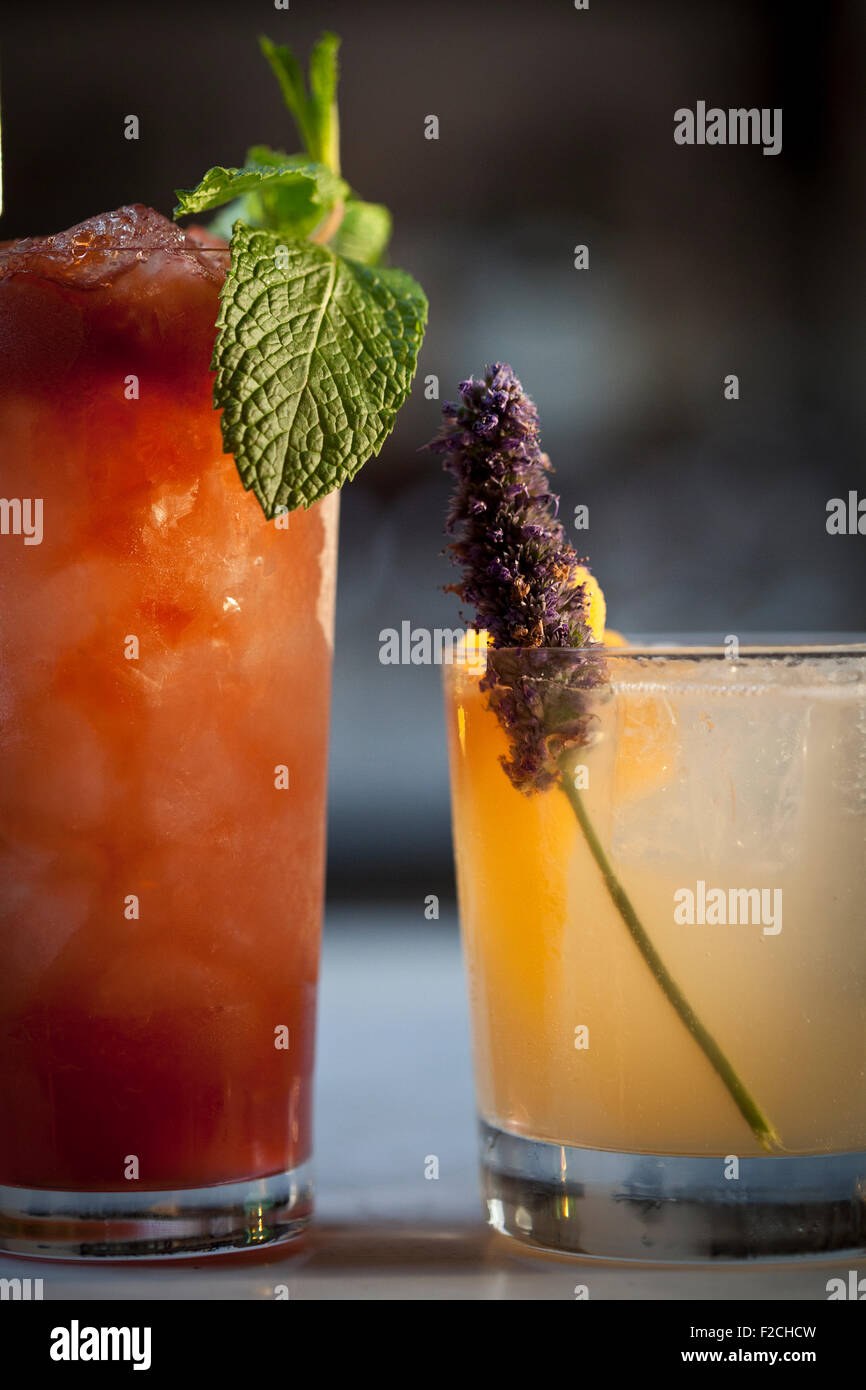 Side view of two cocktails with fresh garnishes - Stock Image