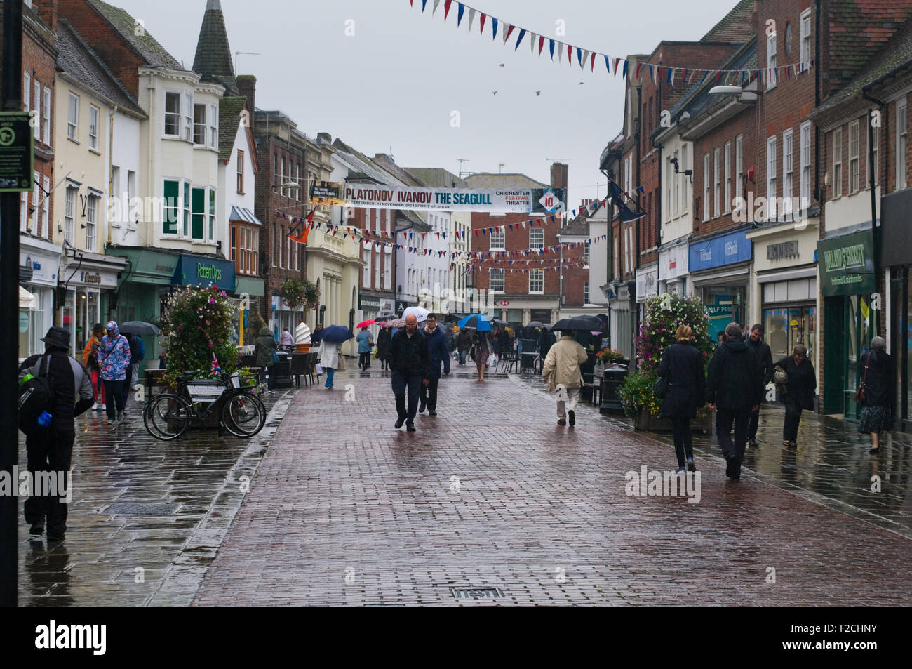 North Street, Chichester, West Sussex, England. People