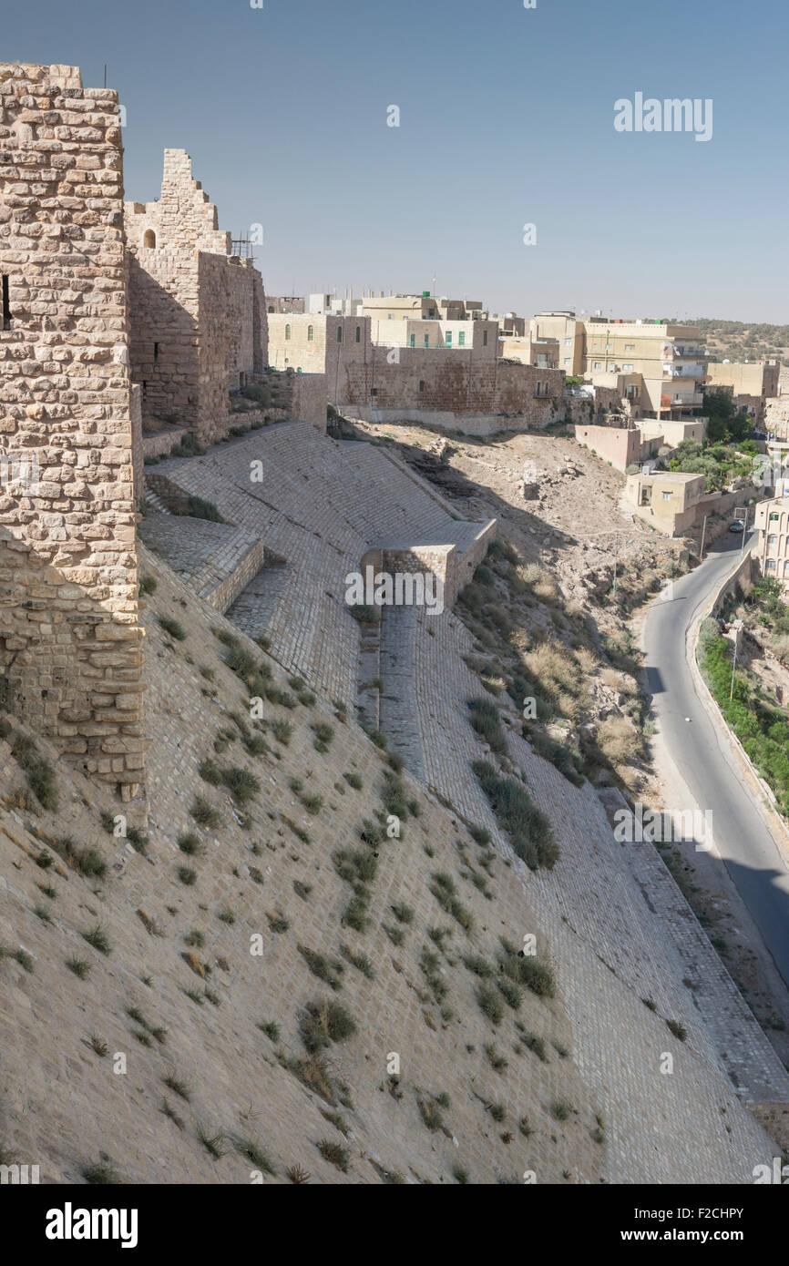 Northeast wall and glacis of Kerak (Karak) Castle in Jordan Stock Photo