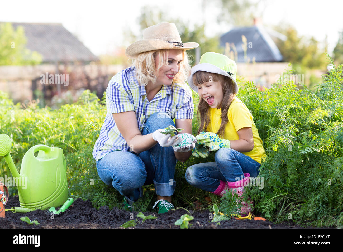 Mother and little girl planting strawberry seedlings in summer time Stock Photo