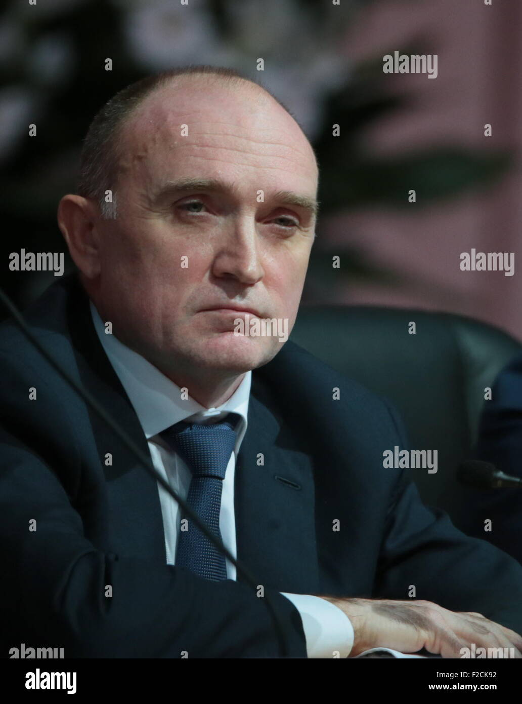 Sochi, Russia. 16th Sep, 2015. Chelyabinsk Region Governor Boris Dubrovsky attends a plenary session as part of - Stock Image