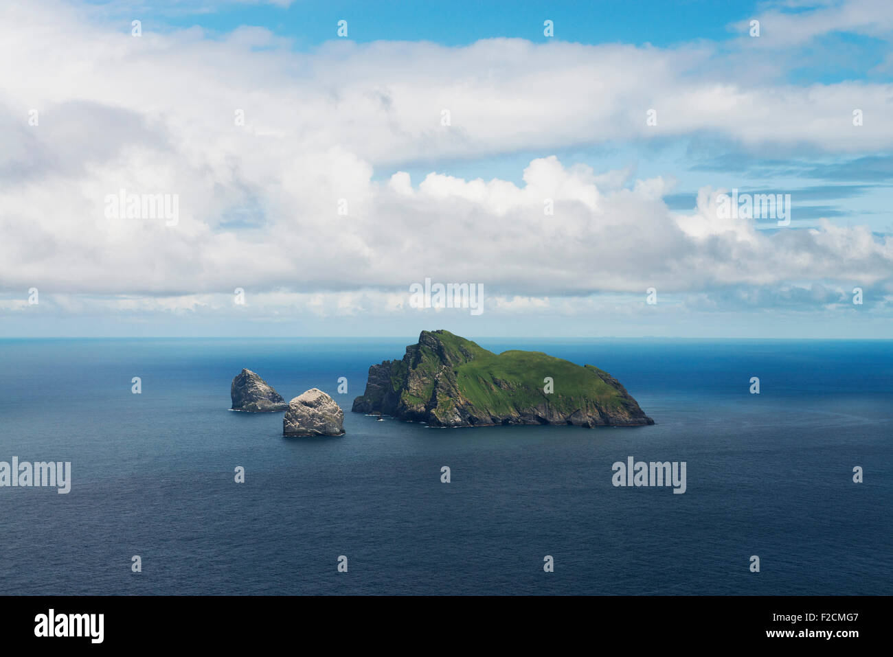 Boreray,home of worlds biggest colony ,the furthest out part of the UK,seen from Hirta of St Kilda - Stock Image