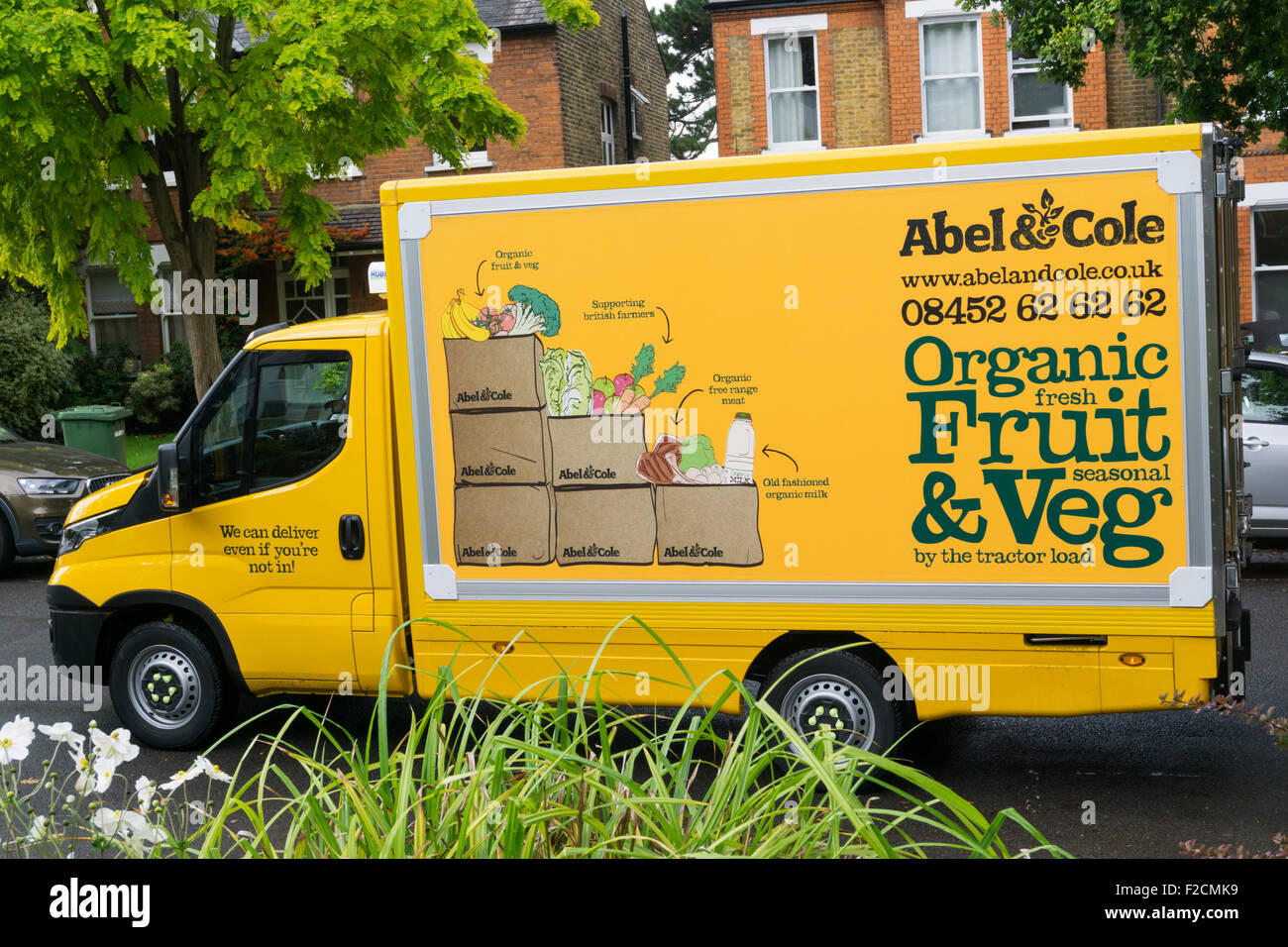 An Abel & Cole van delivering fresh organic fruit and veg boxes. - Stock Image