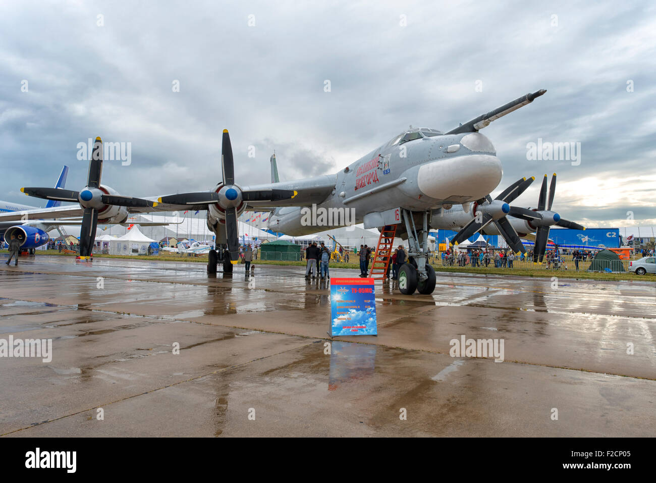 Tupolev Tu-95MS at MAKS 2015 Air Show in Moscow, Russia - Stock Image