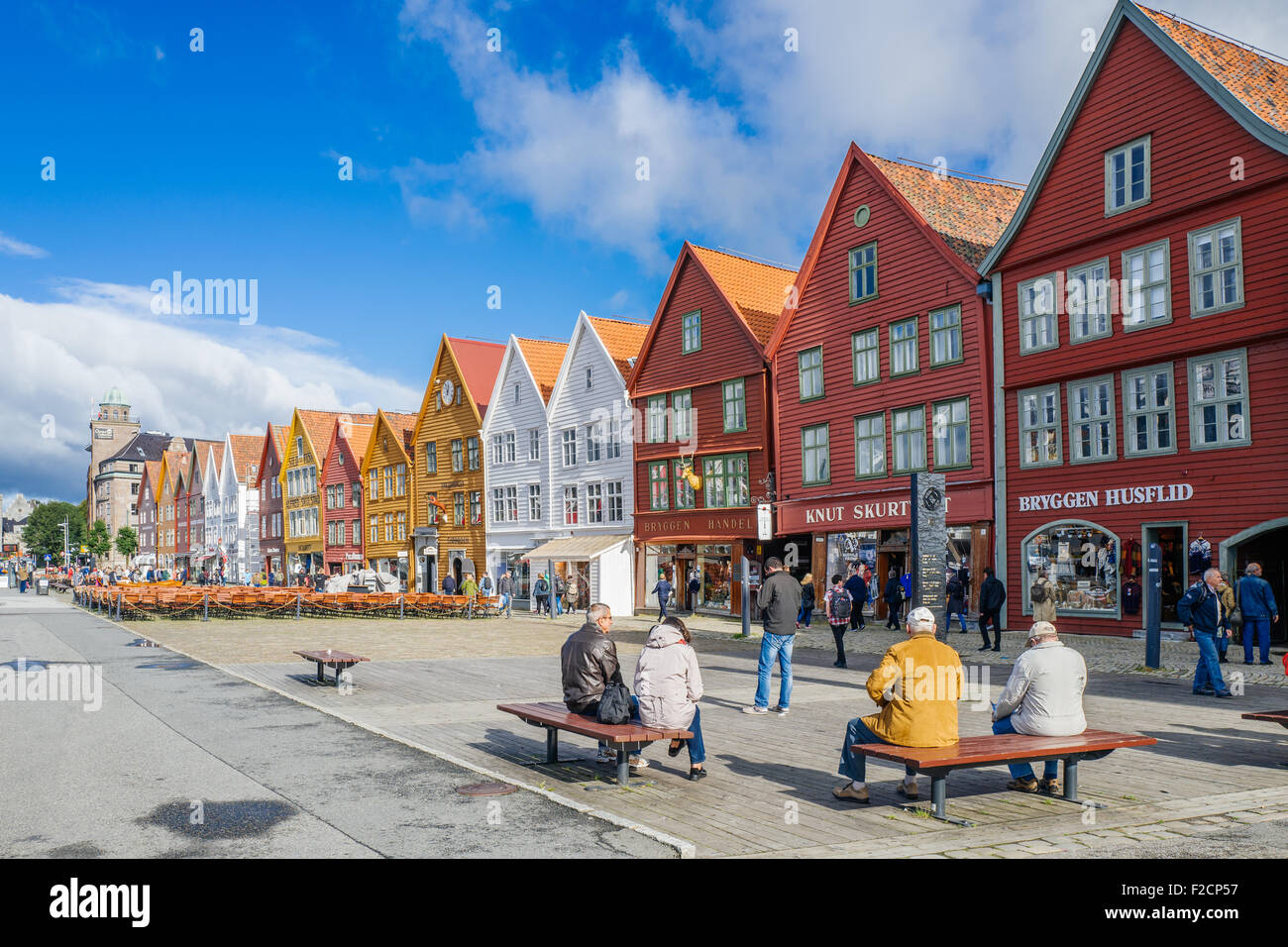 Bryggen in Bergen is a UNESCO World Heritage site and the most visited tourist attraction in Norway. - Stock Image