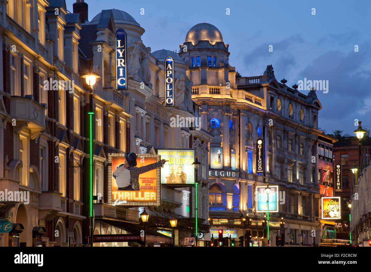 London Theatreland at night, Shaftesbury Avenue - Stock Image