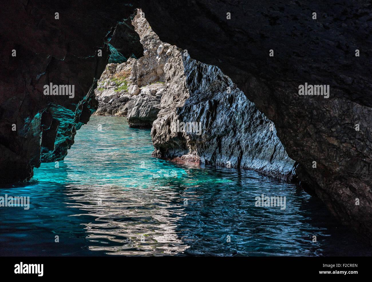 The Grotta Verde, green grotto, on the island of Capri, Campania, Italy Stock Photo