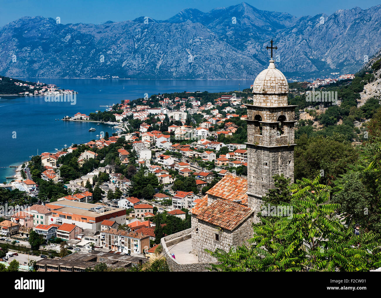 Panoramic view of Kotor and bay, Montenegro - Stock Image