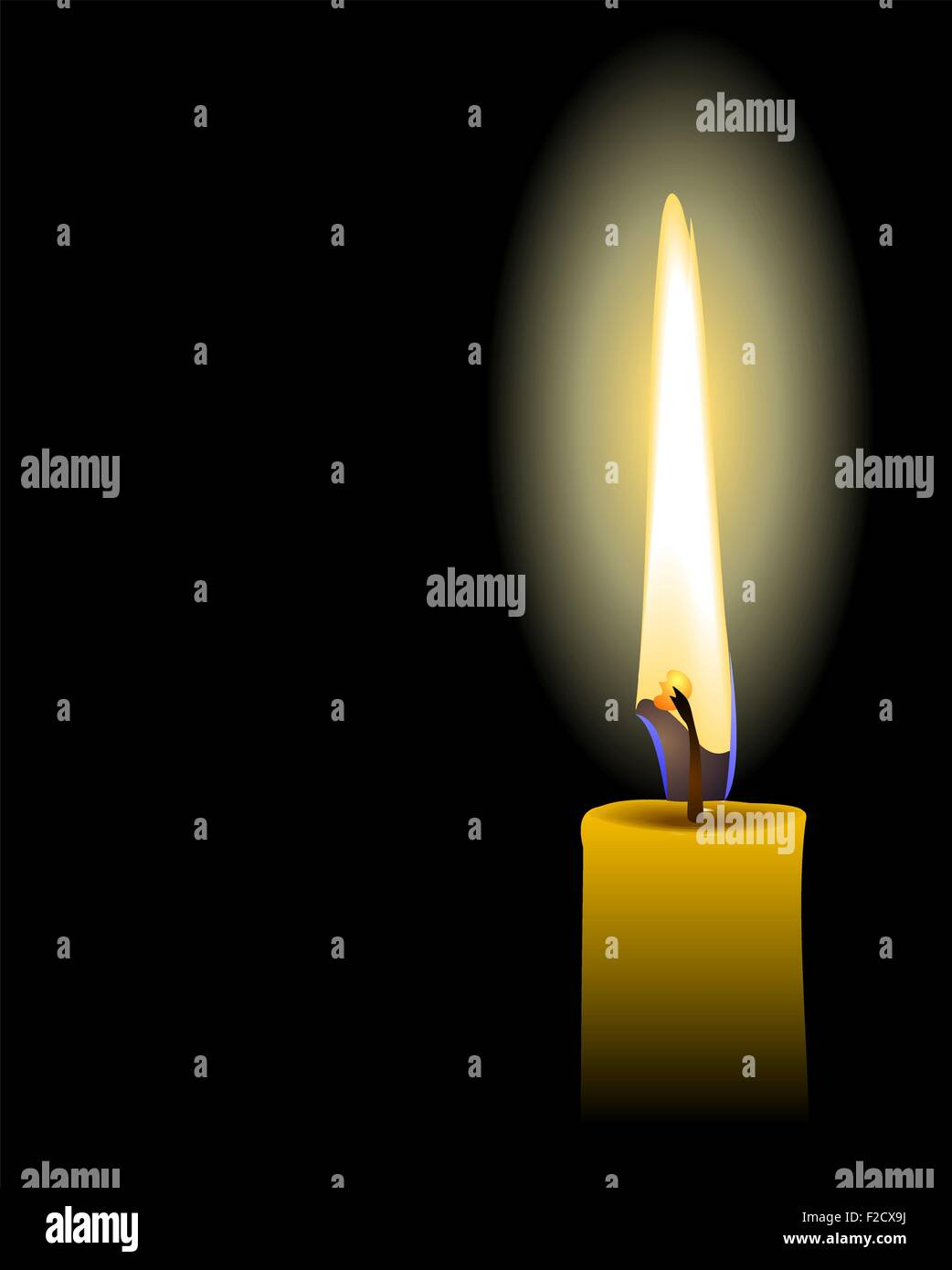 Illustration of yellow candle isolated on black background - Stock Vector