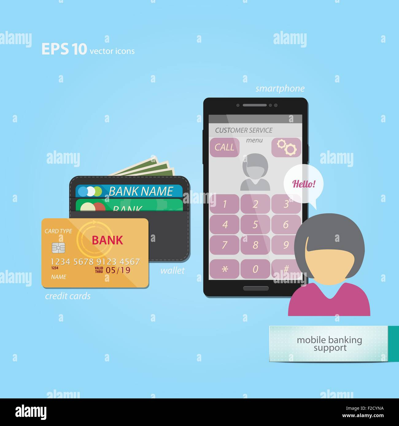 mobile banking and commerce concept with credit cards