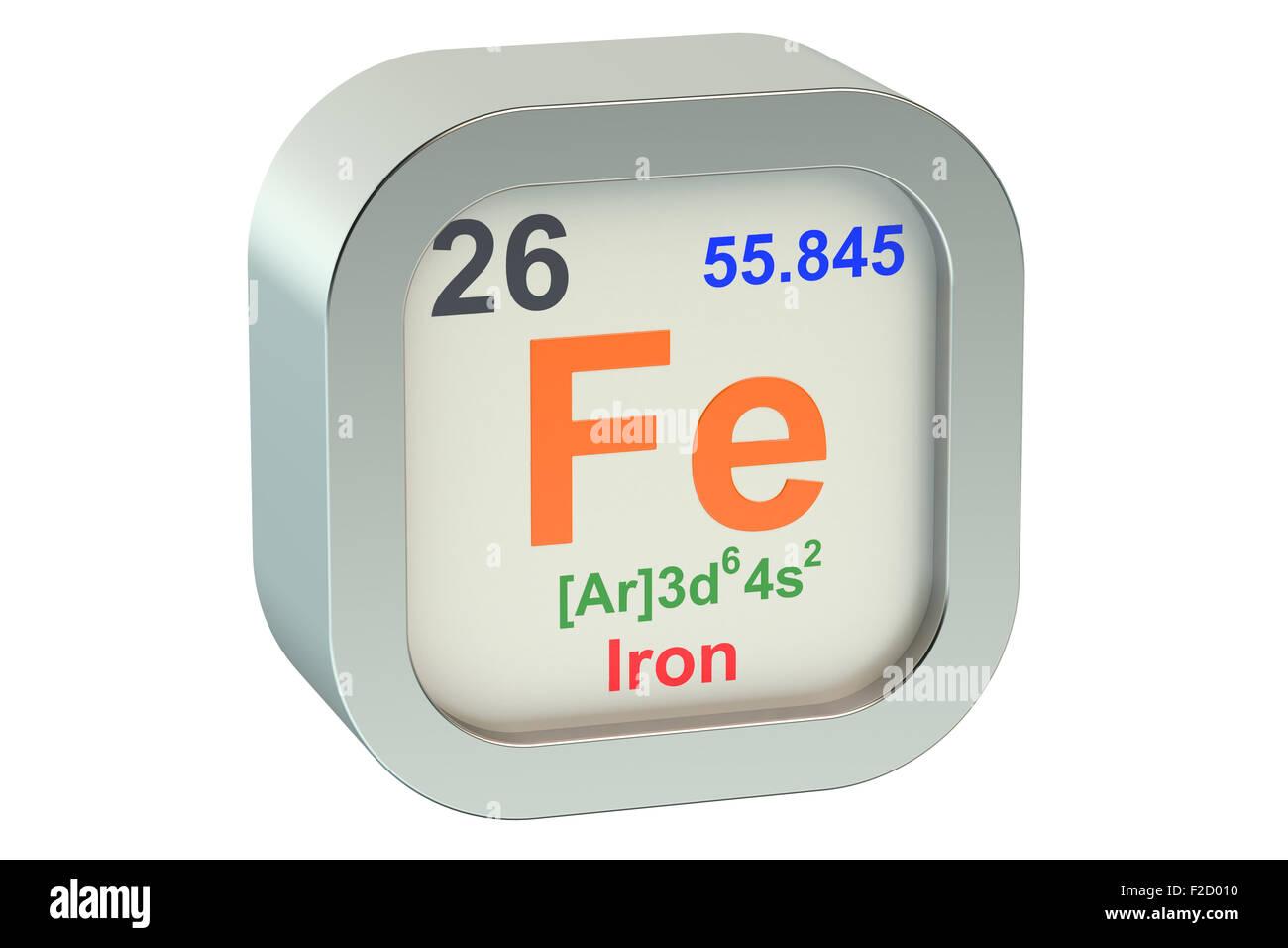 Iron Element Symbol Isolated On White Background Stock Photo