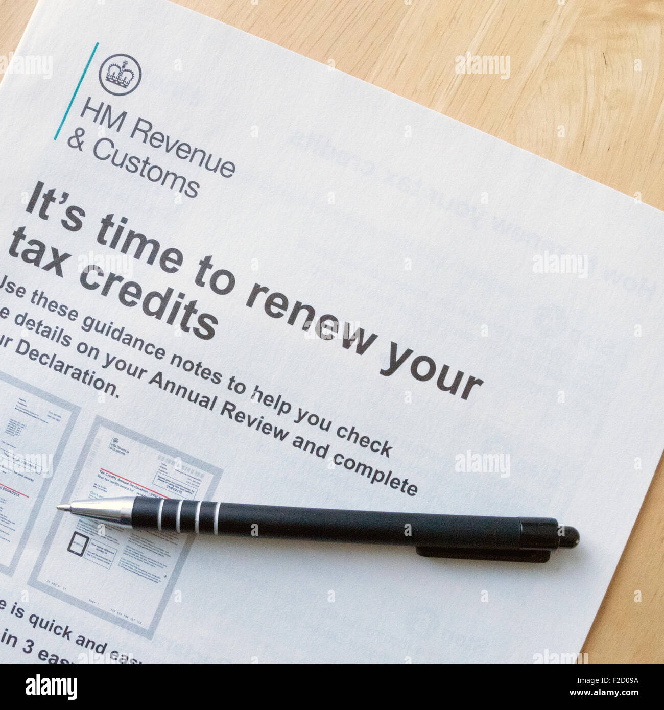 HMRC Tax Credits Renewal Form Guidance Notes, UK - Stock Image