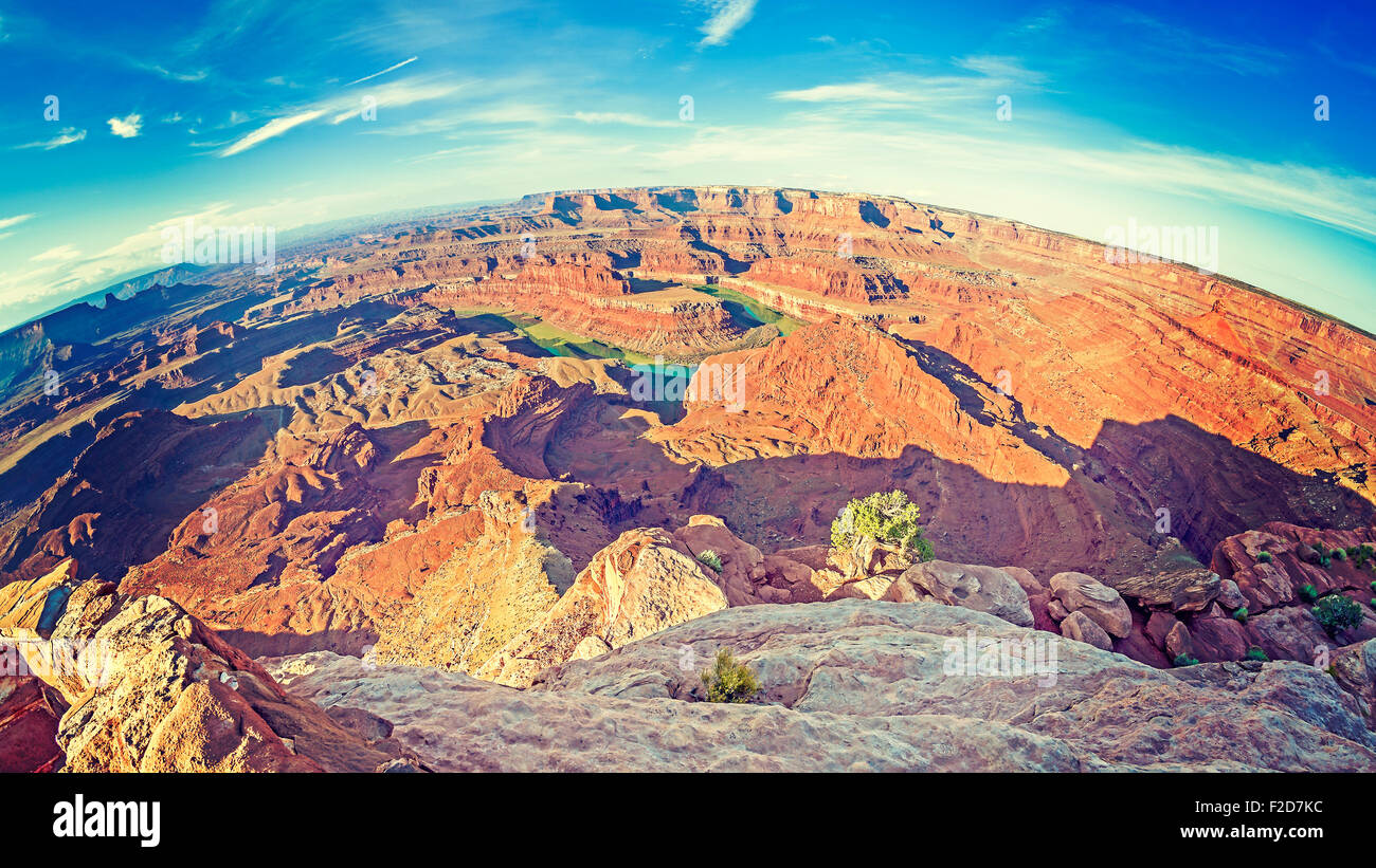 Dead Horse Point State Park at sunrise, fisheye lense photo, Utah, USA - Stock Image