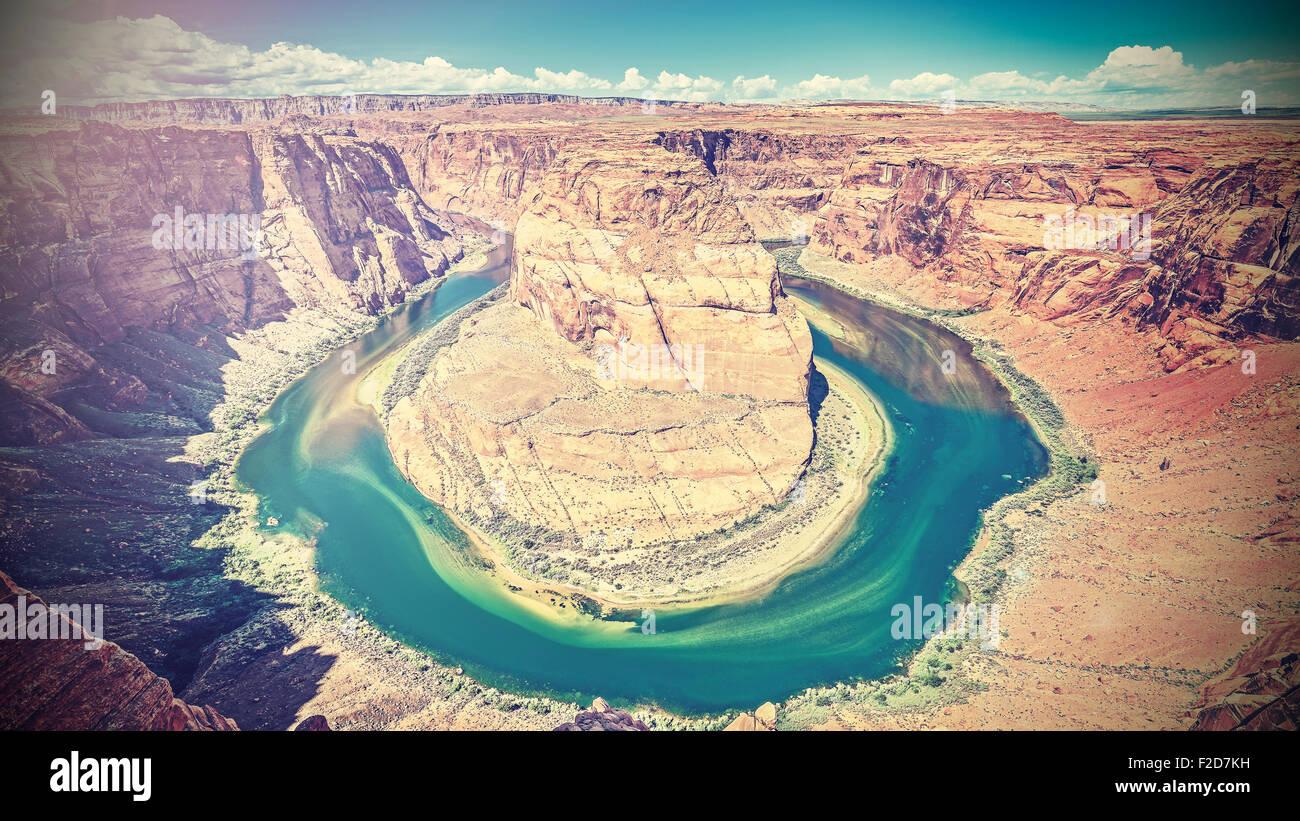 Retro filtered photo of Horseshoe Bend, Colorado River, Arizona, USA. - Stock Image