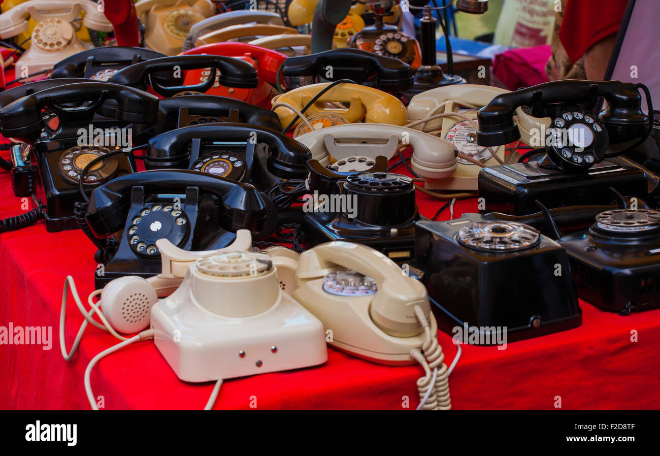 View of vintage telephones in the street market Stock Photo