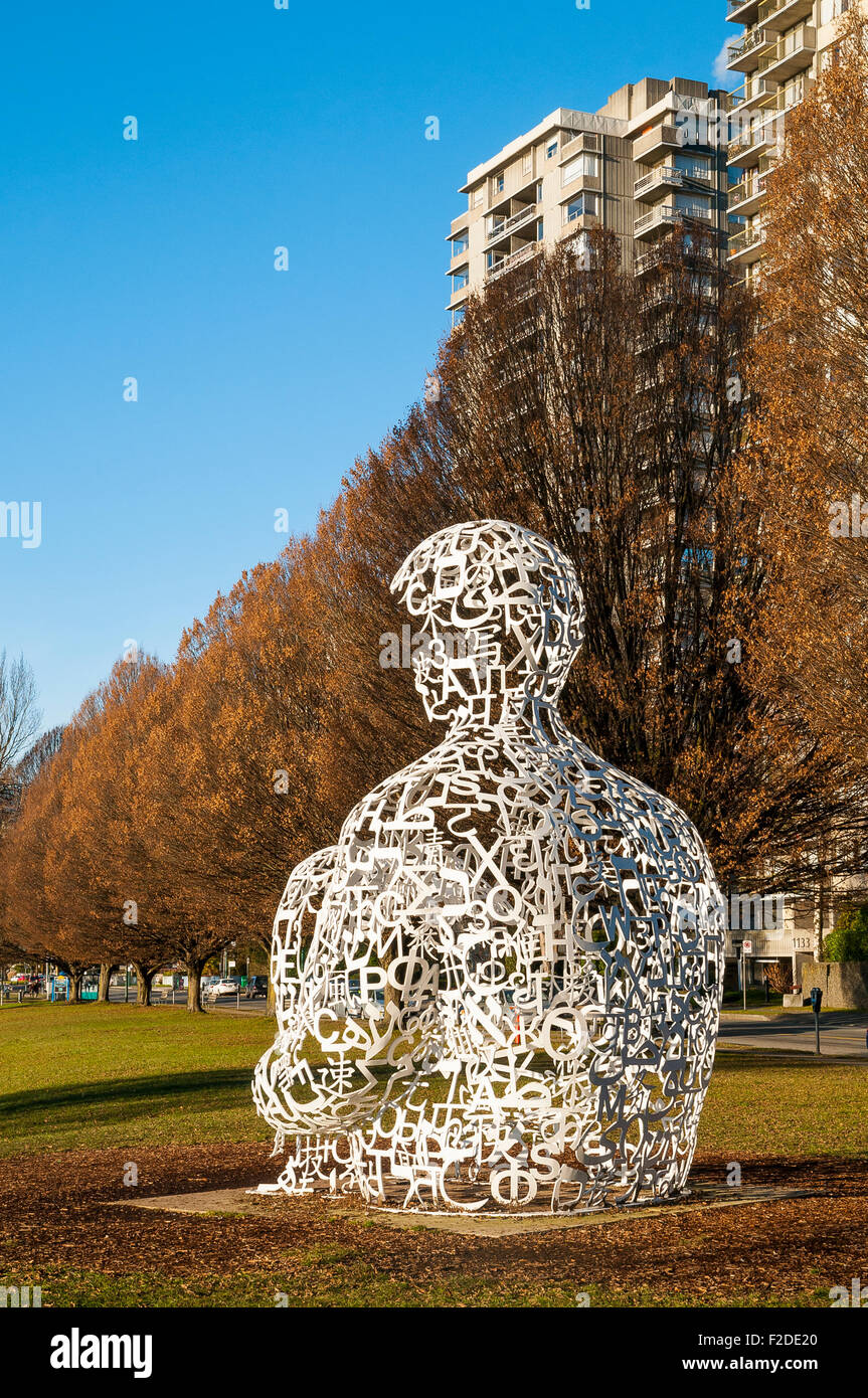 We, 2008, (Vancouver Biennale) sculpture by  Jaume Plensa, Sunset Beach, Vancouver,  British Columbia, Canada - Stock Image