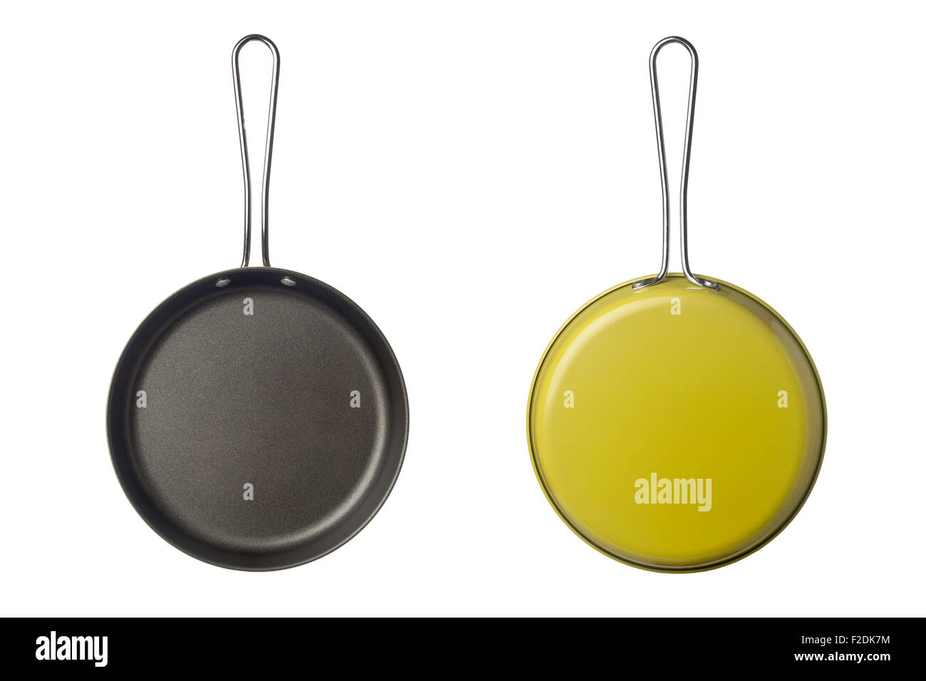 Top and bottom view of a small skillet isolated on white background - Stock Image