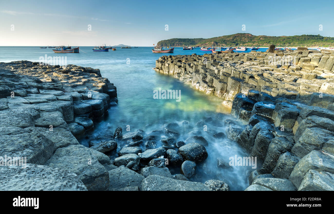 Exposure sea waves at dawn Giants Causeway - Stock Image