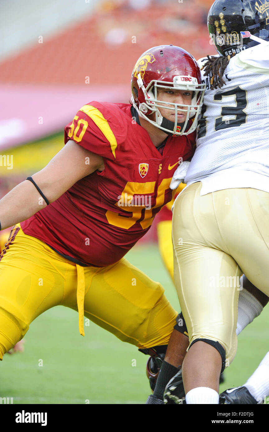 September 12, 2015: Toa Lobendahn of the USC Trojans in action during a 59-9 victory over the Idaho Vandals at the - Stock Image