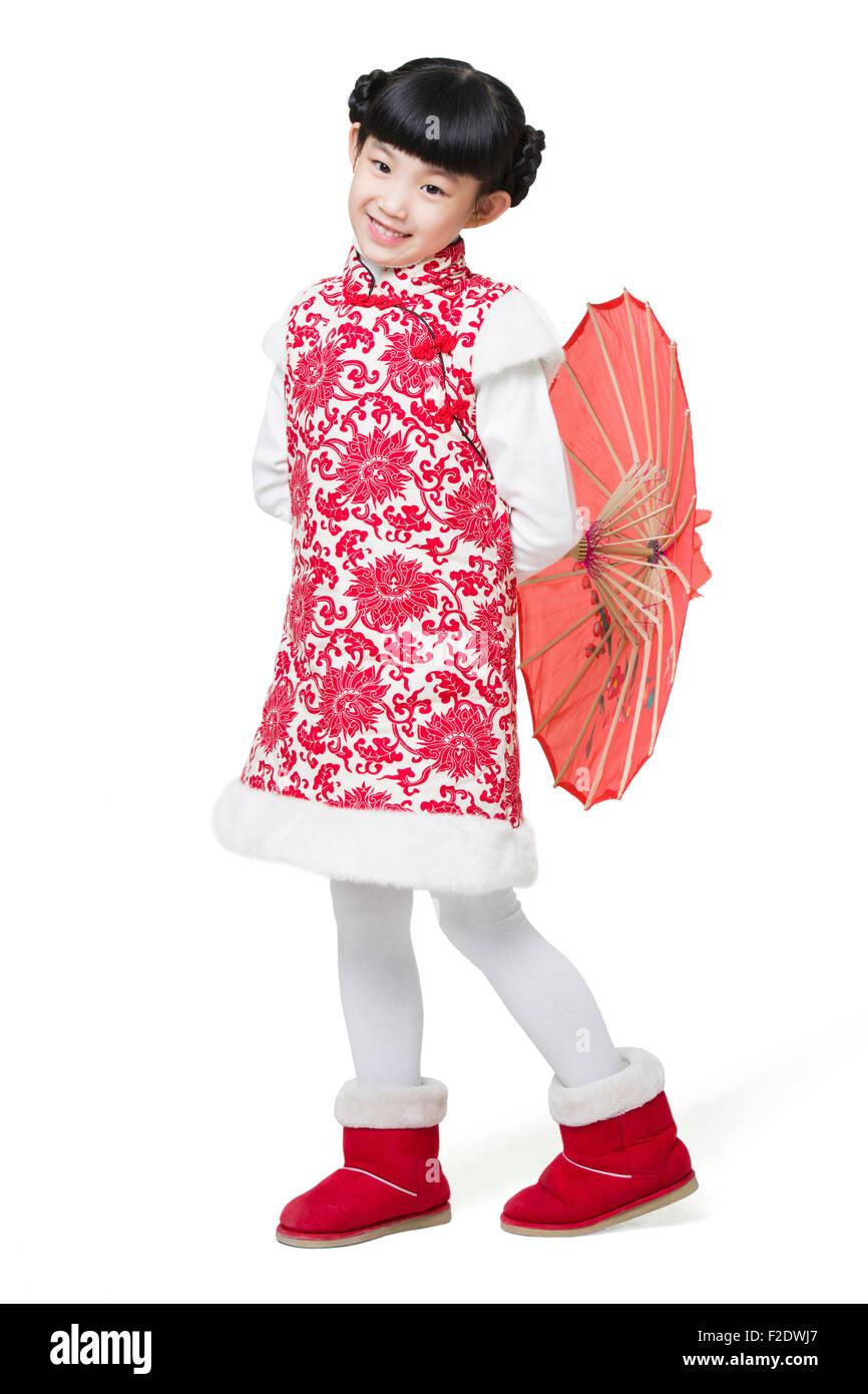 9a636e77c Happy girl holding a paper umbrella Stock Photo  87586639 - Alamy