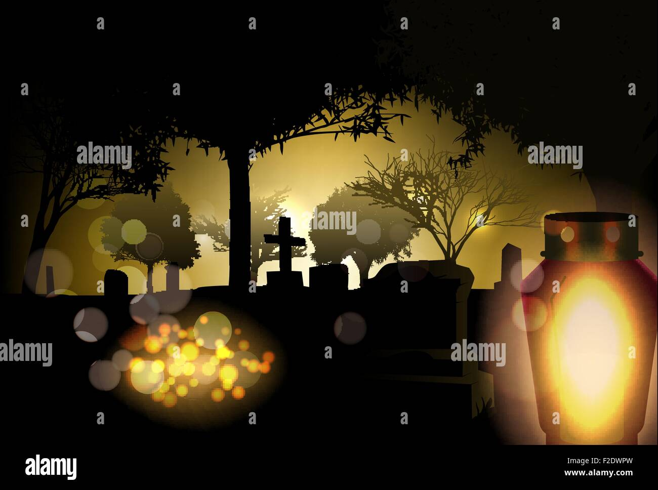 Vector Conceptual All Saints Day Illustration, Eps10 Vector, Gradient Mesh and Transparency Used - Stock Vector