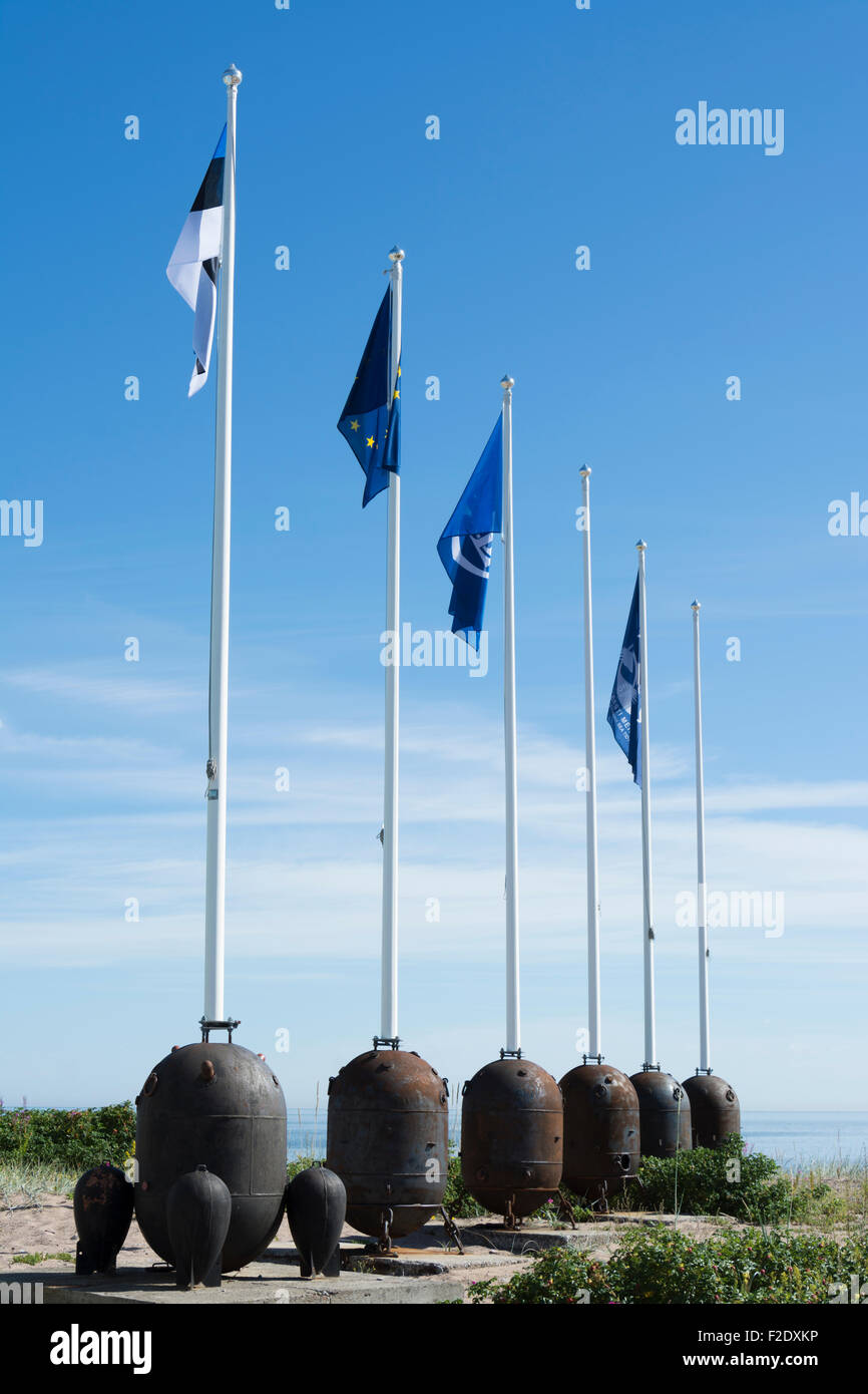 Old Russian Naval Mines as Flagpole Base - Stock Image