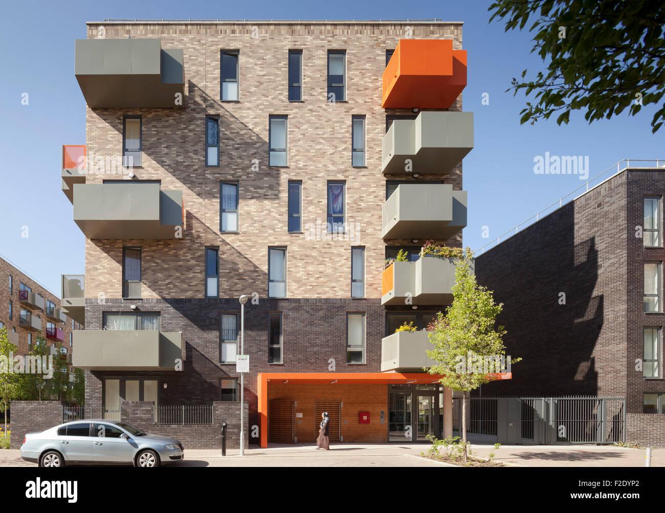 front elevation of multi storey housing flat ocean estate london united kingdom architect levitt bernstein 2015