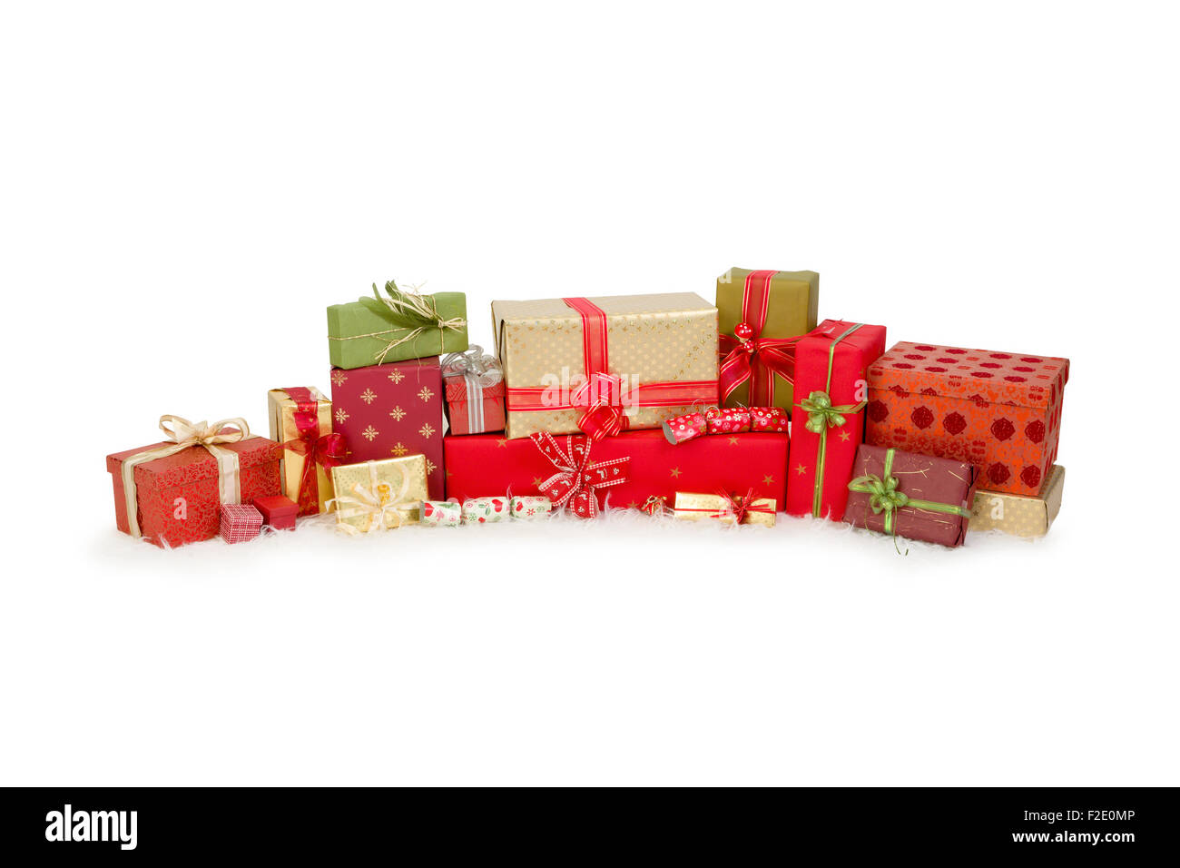 Beautiful stack of christmas presents with ribbons and bows Stock ...