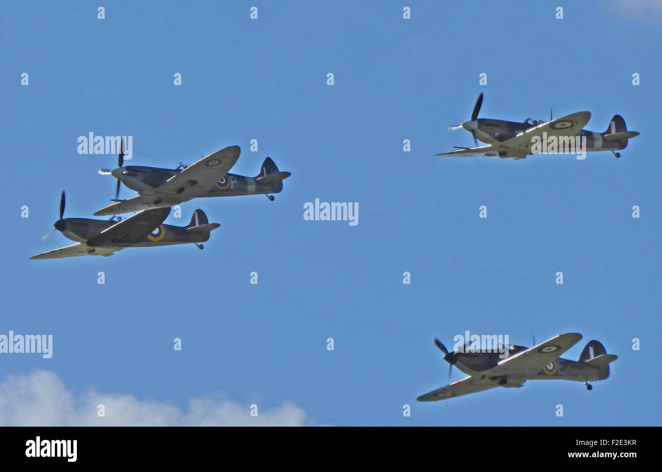 Hurricanes and Spitfires at Goodwood Battle of Britain commemorations in September 2015. - Stock Image