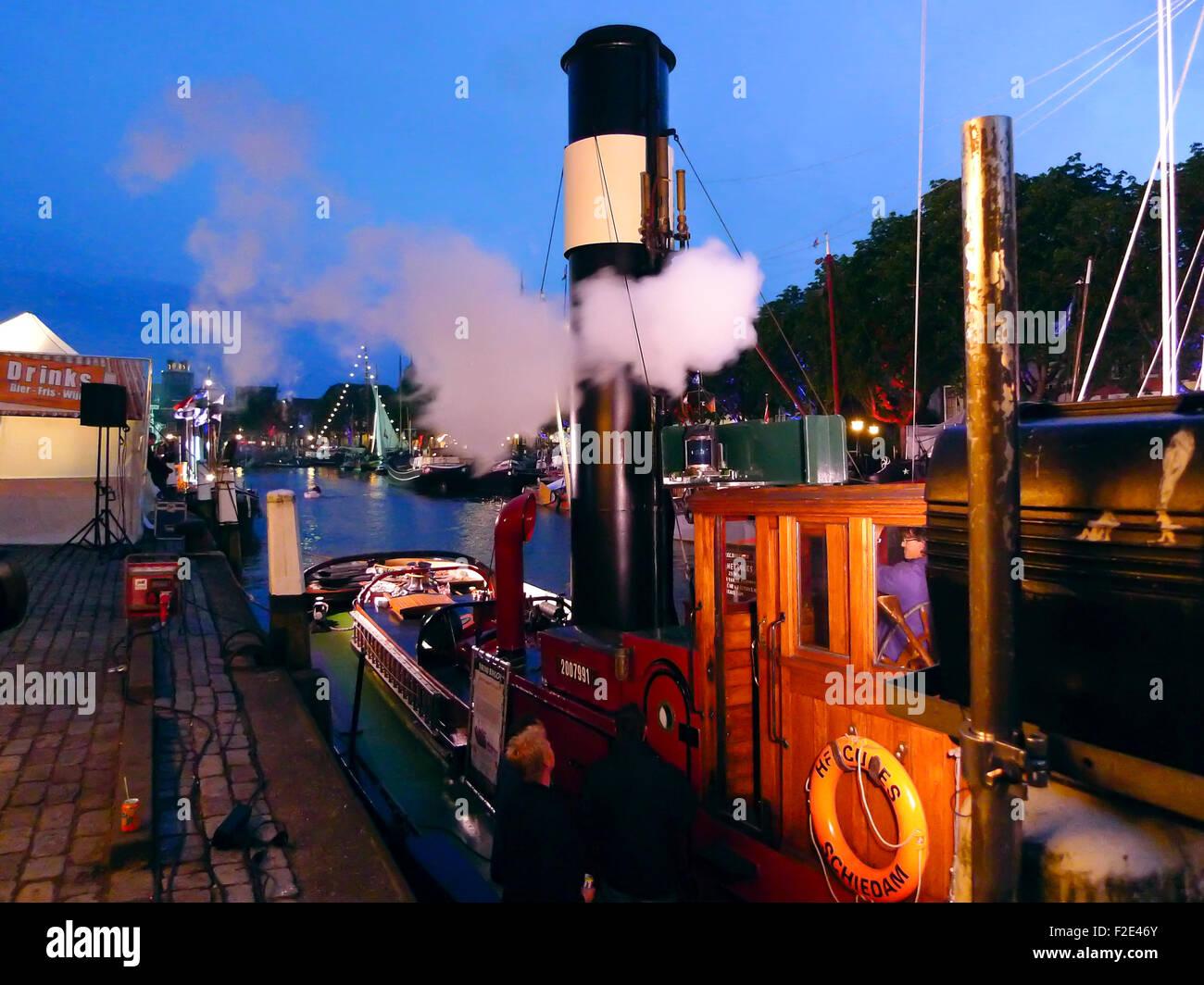 DORDRECHT, NETHERLANDS - JUNE 2 2012: Dordrecht in Steam, the largest steam power event in Europe. Steamboat Hercules - Stock Image