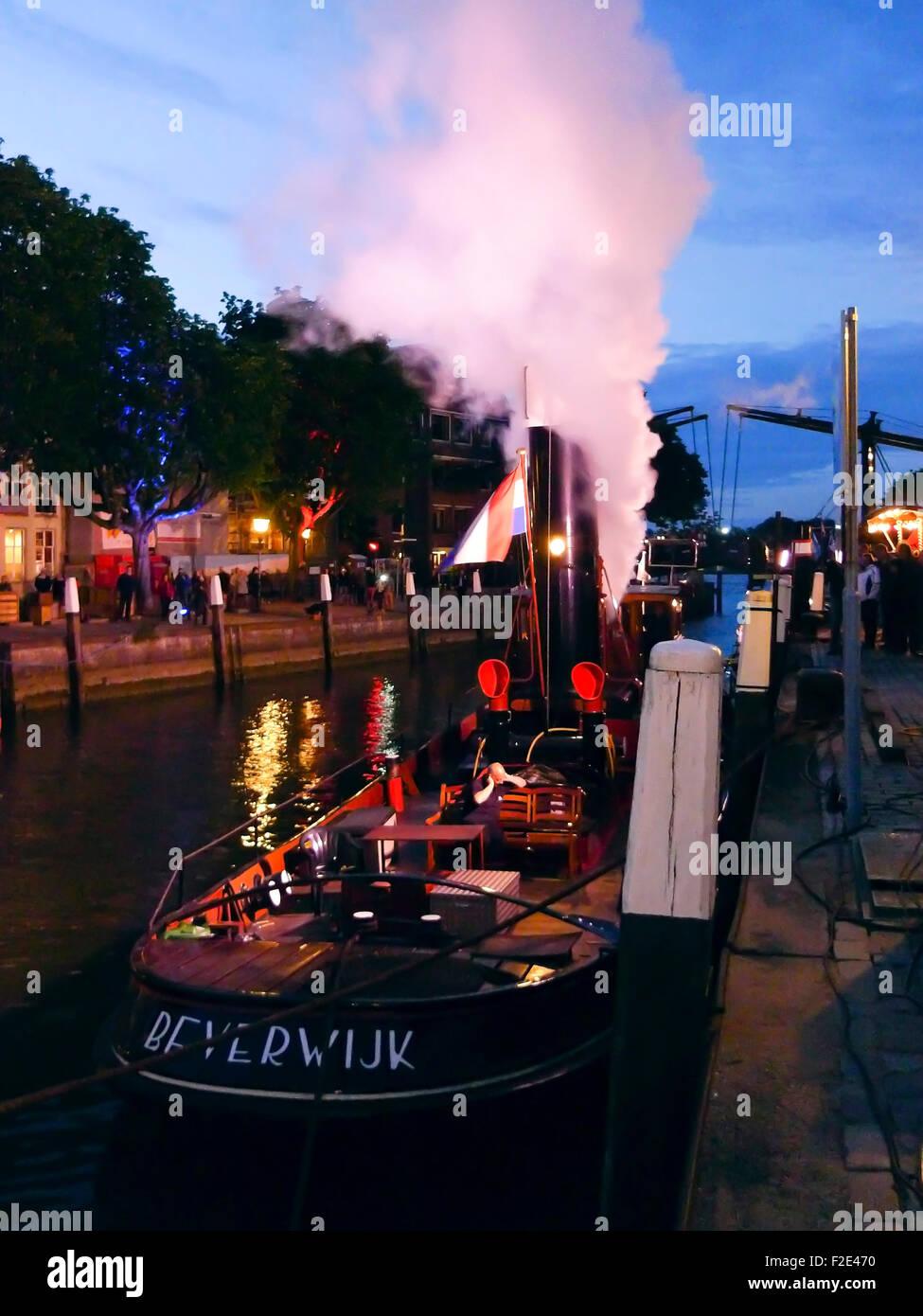 DORDRECHT, NETHERLANDS - JUNE 2 2012: Dordrecht in Steam, the largest steam power event in Europe. Steamboat Beverwijk - Stock Image