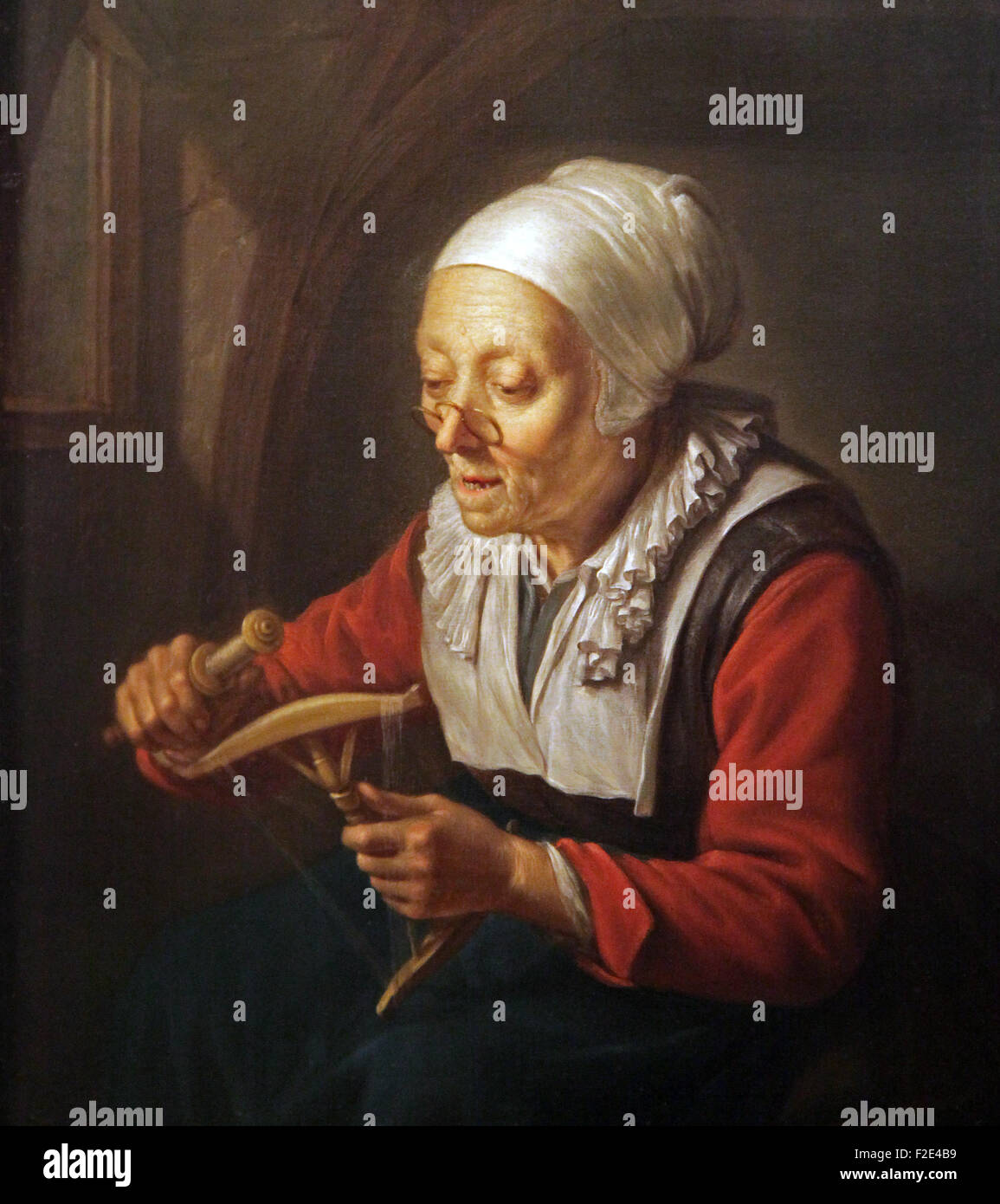 The Spinner the prayer of the spinner by Gerrit Gerard Dou 1613-1675 - Stock Image