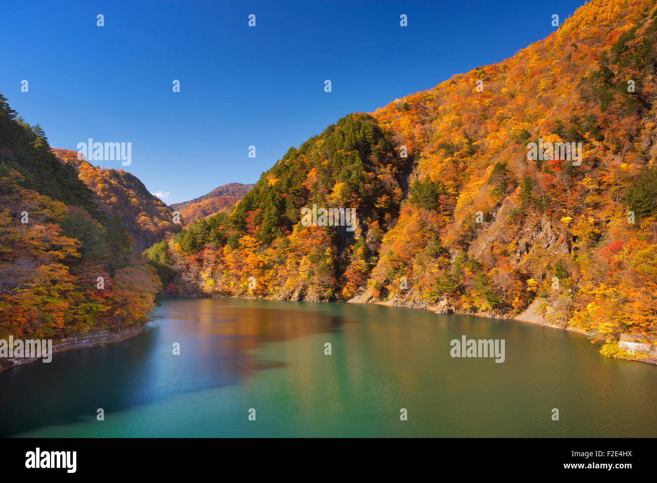 Bright autumn colours along the Azusa Lake in the Northern Japanese Alps. - Stock Image