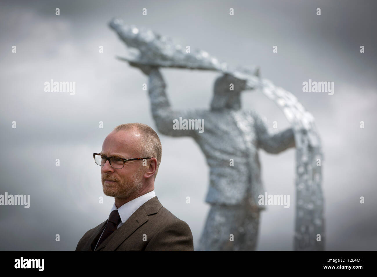 Andy Scott pictured at the official unveiling of Steel Man, his new sculpture made to commemorate those who lost - Stock Image