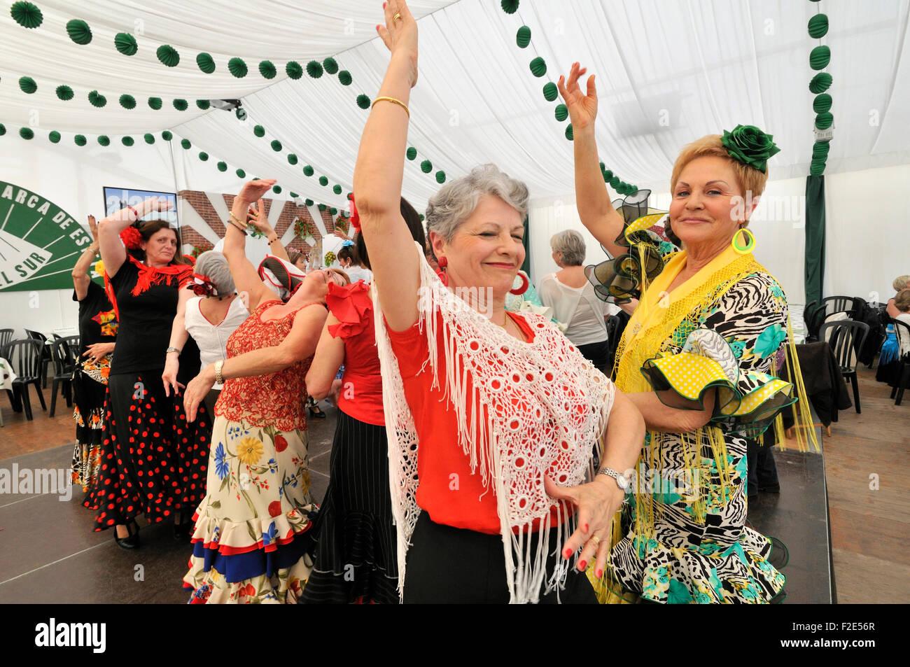 Annual April Fair (Feria de Abril) in Barcelona. Flamenco dance Festival. - Stock Image
