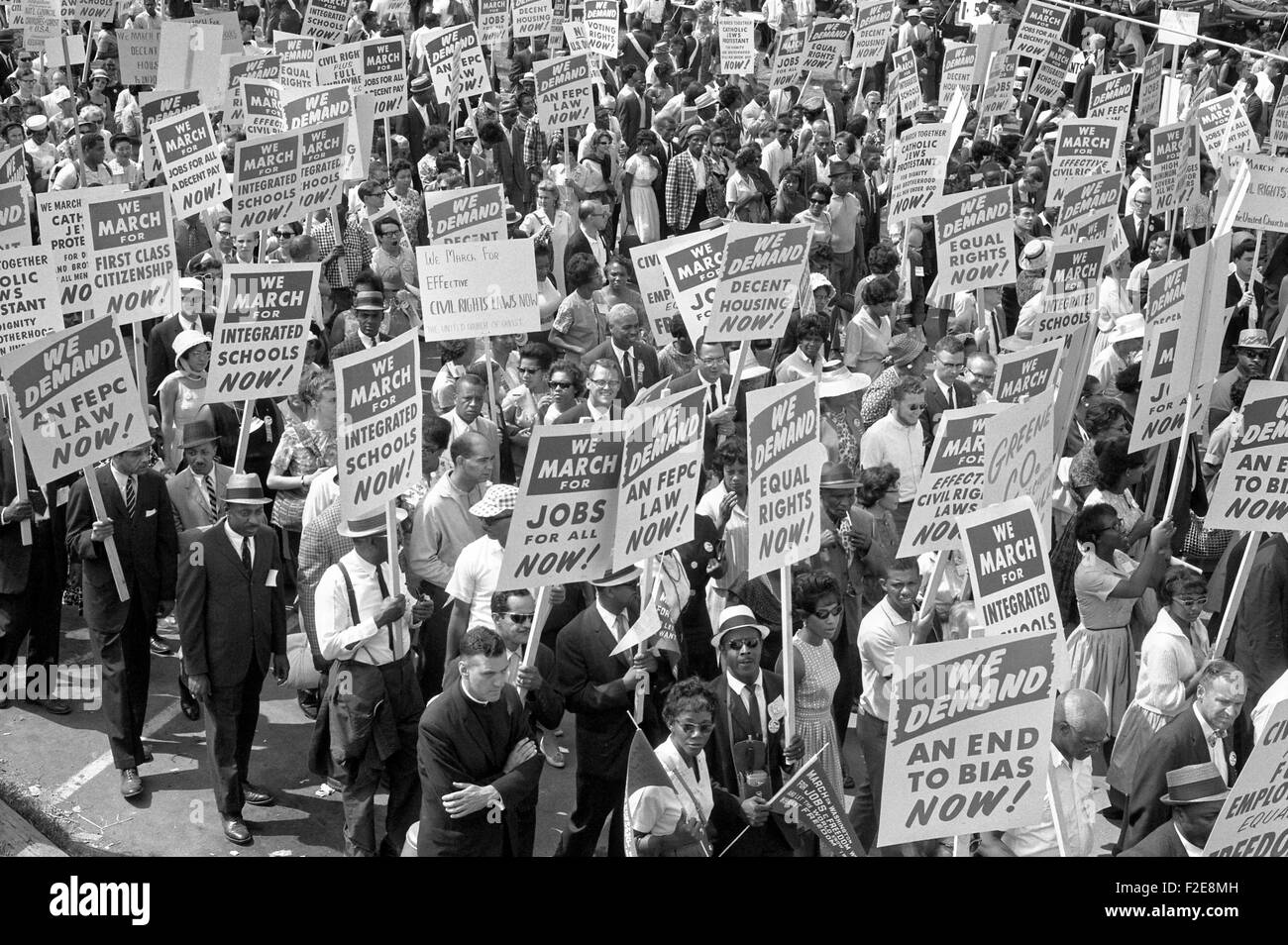 Civil rights supporters carry signs and take to the streets during the March on Washington for Jobs and Freedom - Stock Image