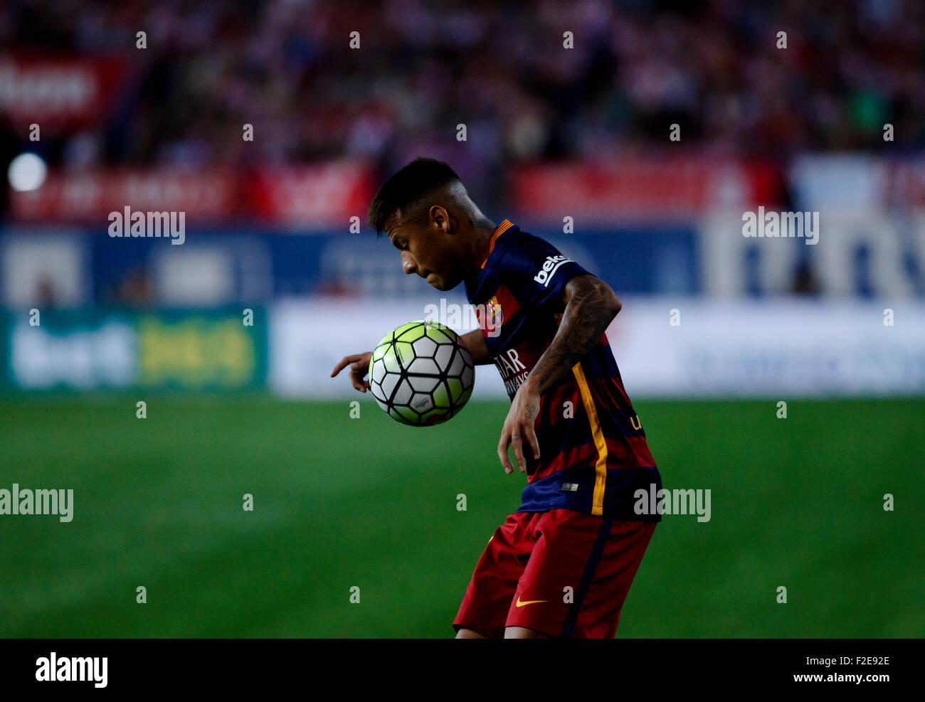 SPAIN, Madrid:FC Barcelona's Brazilian forward Neymar da Silva during the Spanish League 2015/16 - Stock Image