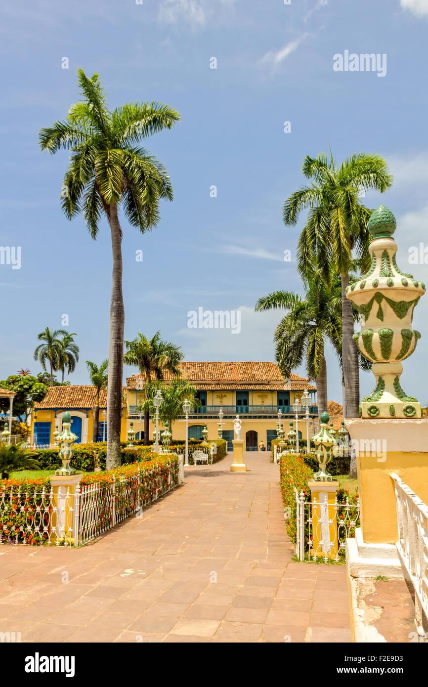 TRINIDAD, CUBA - JULY 22, 2014: Center park of Trinidad city. Worldwide Patrimony of humanity since 1988. Third Stock Photo