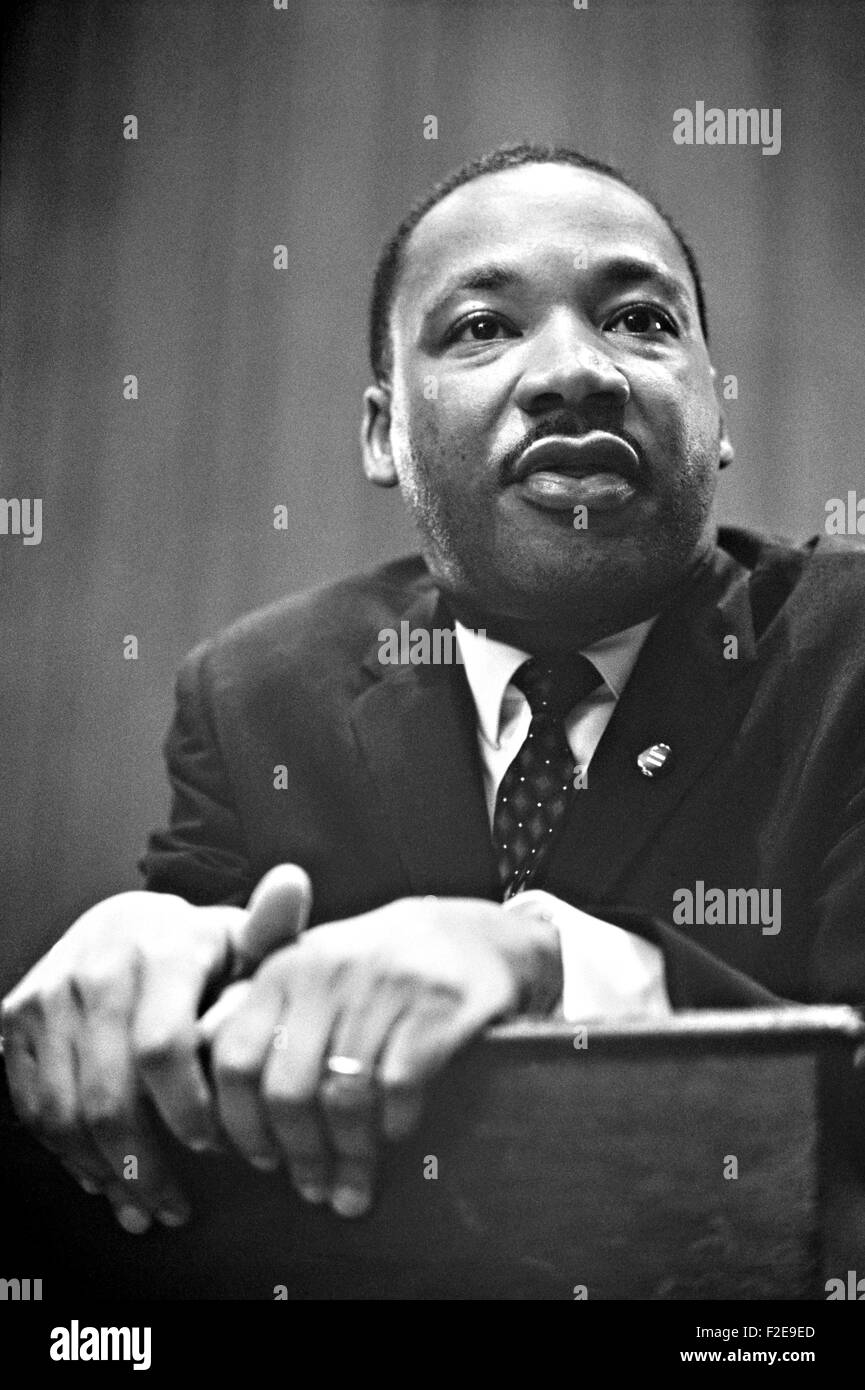 Civil rights leader Rev. Martin Luther King, Jr. during a  press conference in the U.S. Capitol March 26, 1964 in - Stock Image